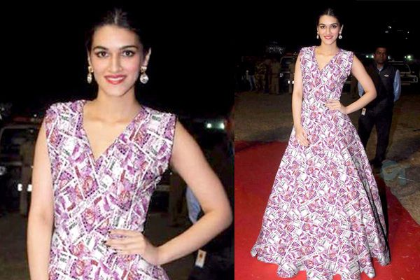 kriti worn unique dress of Two thousand rupees note print